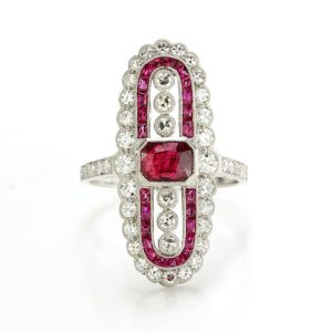 Vintage Art Deco Style Ruby and Diamond Cluster Plaque Ring