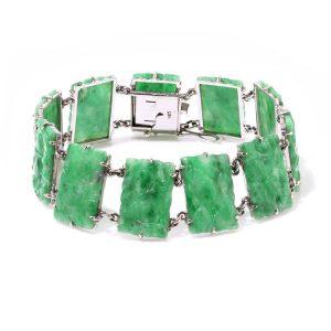 Vintage Jadeite Jade Panel Bracelet, Circa 1970s