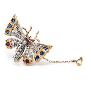 Antique Victorian Multi Gemstone Butterfly Brooch