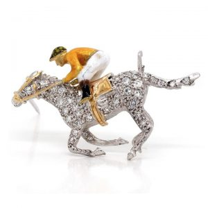 Vintage Enamel and Diamond Set Horse and Jockey Brooch
