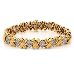 Vintage 18ct Yellow Gold and Diamond Cross Link Bracelet