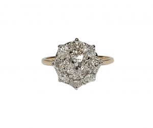 Antique Edwardian 2ct Old Cut Diamond Cluster Ring