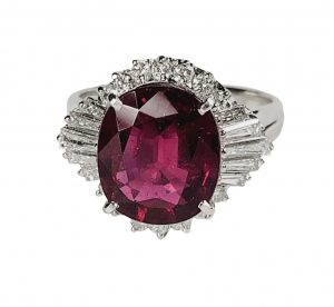 Vintage French 5ct Rubellite and Baguette Diamond Cluster Dress Ring