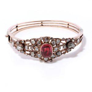 Antique Victorian 4ct Spinel and Diamond Cluster Bangle Bracelet