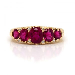Vintage Ruby Five Stone Ring in 18ct Yellow Gold