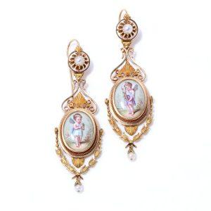 19th Century Italian Gold and Enamel Cherub Plaque Drop Earrings