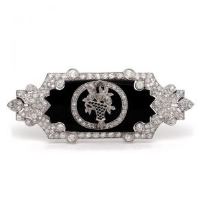 Art Nouveau Onyx and Old Cut Diamond Plaque Brooch in Platinum