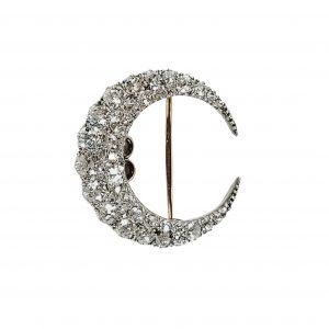 Antique Victorian Old Cut Diamond Crescent Brooch, 4 carats