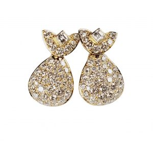 Vintage French Diamond Drop Earrings, 5 carats