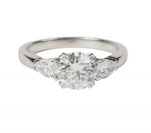 0.91ct D Colour Diamond Engagement Ring with Pear Cut Shoulders
