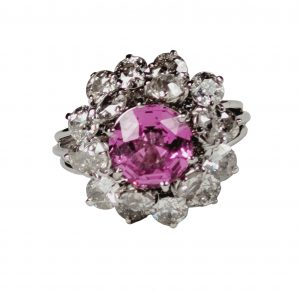 Vintage French Pink Sapphire and Old Cut Diamond Cluster Dress Ring