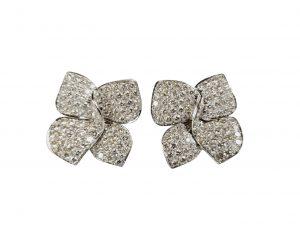 Vintage 8ct Pave Diamond Bow Earrings, Circa 1980