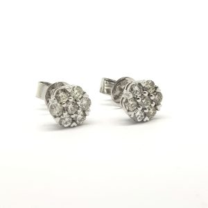 Diamond Floral Cluster Stud Earrings, 0.71 carats