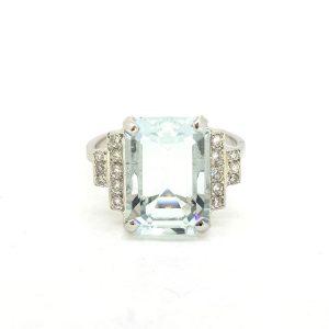 Aquamarine and Diamond Dress Ring in Platinum, 6 carats