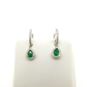 Emerald and Diamond Pear Shaped Cluster Drop Earrings