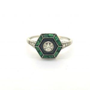 Vintage Art Deco Style Emerald, Diamond and Onyx Ring
