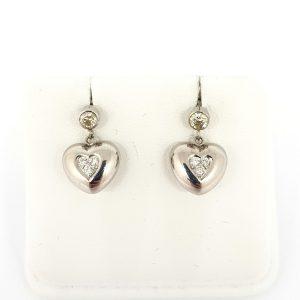 Diamond Set Heart Drop Earrings in 14ct Gold