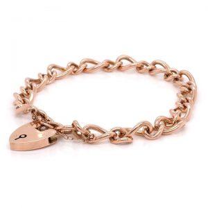 Vintage 9ct Rose Gold Curb Link Bracelet with Heart Padlock