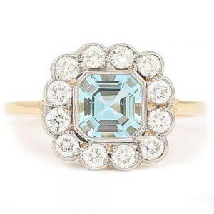 Aquamarine and Diamond 18ct Yellow Gold Art Deco Style Ring with Gem Cert