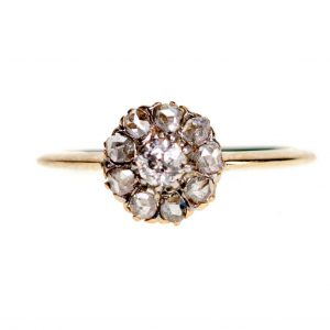 Antique Victorian Old Mine Cut Diamond Cluster Ring