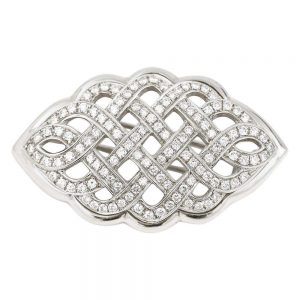2.5ct Diamond Celtic Love Knot Brooch in 18ct White Gold