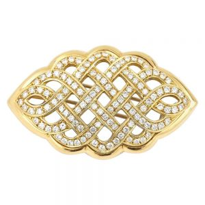 2.5ct Diamond Celtic Love Knot Brooch in 18ct Yellow Gold