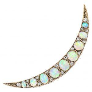 Antique Victorian Opal and Diamond Crescent Brooch Circa 1890