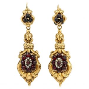 Antique Late Georgian 18ct Gold Garnet Cluster and Seed Pearl Drop Earrings, Circa 1835