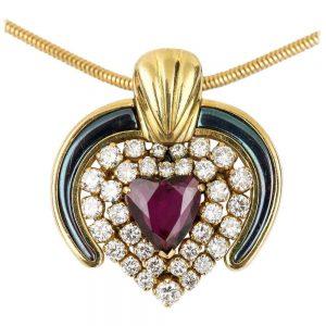Vintage Ruby, Diamond and Blue Enamel 18ct Yellow Gold Heart Pendant