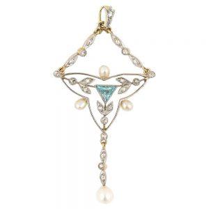 Antique Edwardian 18ct Gold and Platinum Aquamarine Diamond Pearl Pendant, Circa 1910