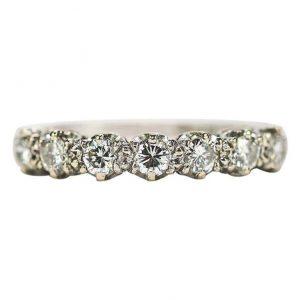 Vintage 18ct White Gold Diamond Est. 1.00ct Half Eternity Ring