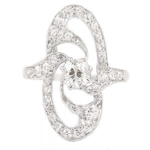 Antique Art Nouveau Platinum Diamond Engagement Ring circa 1925