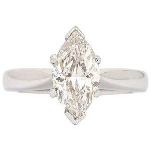 2.01ct Marquise Diamond 18ct White Gold Platinum Engagement Ring, I Colour