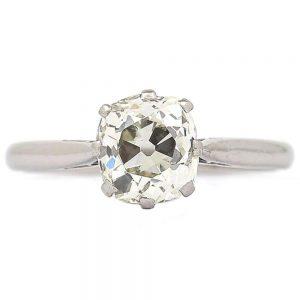 Vintage Platinum 1.70ct Solitaire Old European Diamond Engagement Ring, circa 1930