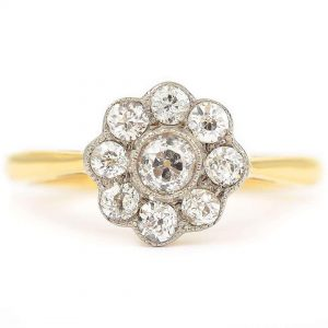 Vintage 18ct Gold Old Cut Diamond Daisy Cluster Ring