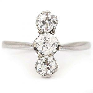 Antique Art Deco Platinum Diamond Three Stone Ring