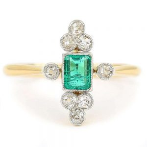 Antique Edwardian Columbian Emerald and Diamond Cluster Ring Circa 1910 with Certificate