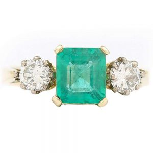 Vintage 1.48ct Emerald and 0.60ct Diamond Three Stone Ring, 18ct Yellow Gold