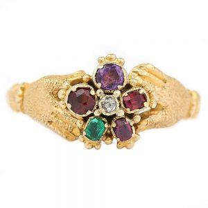Antique Victorian Pansy REGARD and Fede Ring Circa 1880
