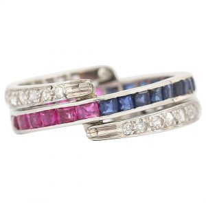 Vintage Art Deco Day and Night Ruby, Sapphire and Diamond Ring, Circa 1930