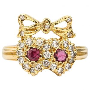 Vintage 18ct Yellow Gold Ruby and Diamond Sweetheart Ring