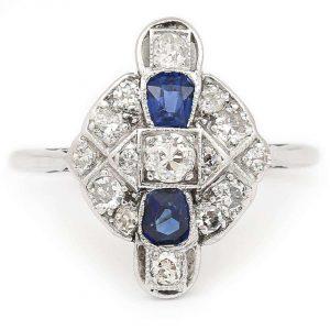 Vintage Art Deco Platinum and 18ct Gold Sapphire and Diamond Plaque Ring, Circa 1925