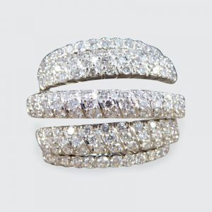 Vintage 1.74ct Five Strand Half Eternity Diamond Ring