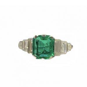 Art Deco Emerald Engagement Ring, Baguette Cut Diamond Shoulders